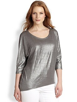 Eileen Fisher, Sizes 14-24 - Metallic Linen Top