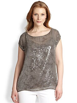 Eileen Fisher, Sizes 14-24 - Paillette Top