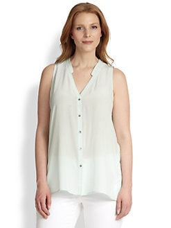 Eileen Fisher, Sizes 14-24 - Silk Button-Front Top