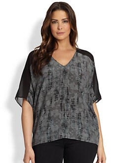 Eileen Fisher, Sizes 14-24 - Slouchy Printed Silk Top