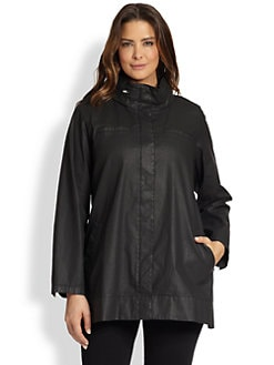 Eileen Fisher, Sizes 14-24 - Waxed Twill A-Line Jacket