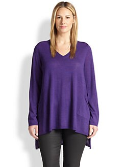 Eileen Fisher, Sizes 14-24 - Wool Hi-Lo Top