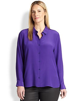 Eileen Fisher, Sizes 14-24 - Silk Crepe De Chine Top