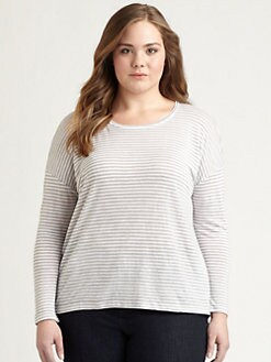 Eileen Fisher, Salon Z - Linen Striped Boxy Top