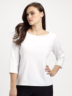 Eileen Fisher, Salon Z - Organic Cotton Ballet-Neck Top