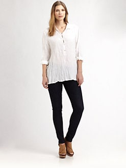Eileen Fisher, Salon Z - Linen Button-Placket Blouse
