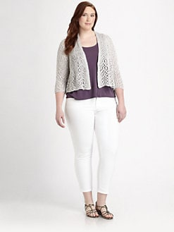 Eileen Fisher, Salon Z - Cropped Lacy-Stitch Sequined Cardigan