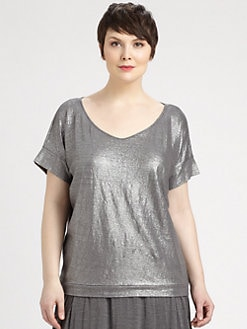 Eileen Fisher, Salon Z - Shimmering Silk/Cotton Wedge Top