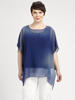 Eileen Fisher, Salon Z - Silk Chiffon Boxy Tunic