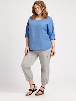 Eileen Fisher, Salon Z - Linen Ballet-Neck Top