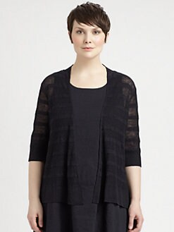 Eileen Fisher, Salon Z - Striped Linen Straight Cardigan