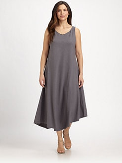 Eileen Fisher, Salon Z - Hemp/Organic Cotton Angled-Hem Dress