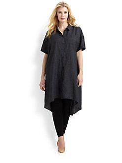 Eileen Fisher, Salon Z - Linen Hi-Lo Shirtdress