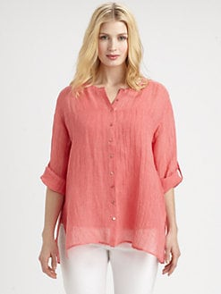 Eileen Fisher, Salon Z - Linen Gauze Micro-Striped Shirt