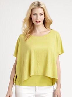 Eileen Fisher, Salon Z - Linen Knit Poncho Top