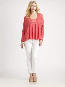 Eileen Fisher, Salon Z - Linen/Silk Open-Front Cardigan