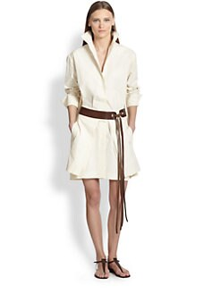 Donna Karan - Belted Cotton/Linen Shirtdress