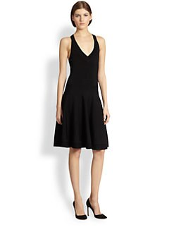 Donna Karan - V-Neck Fit-And-Flare Dress
