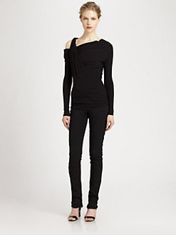 Donna Karan - Cold-Shoulder Twisted Top