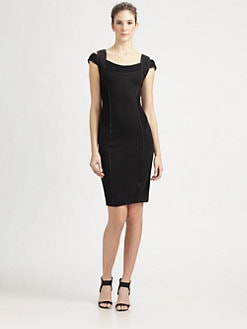 Donna Karan - Cold-Shoulder Tape Trim Dress