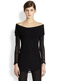Donna Karan - Shawl-Neck Open-Weave Sweater