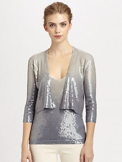 Donna Karan - Cashmere Ombr&eacute; Sequined Cardigan