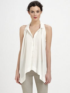 Donna Karan - Sleeveless Pleat-Front Top