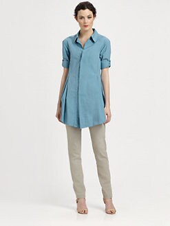Donna Karan - Pleated Boyfriend Shirt