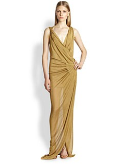 Donna Karan - Metallic Twist-Shoulder Gown
