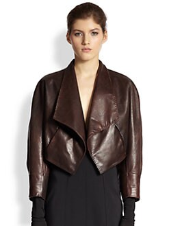 Donna Karan - Cropped Leather Dolman-Sleeved Jacket