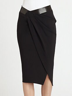 Donna Karan - Leather-Trimmed Draped Wrap-Effect Skirt