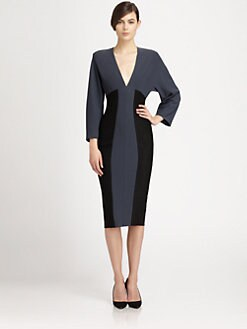 Donna Karan - Colorblock Dolman-Sleeved Dress