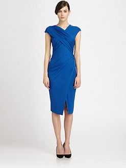 Donna Karan - Crossover Draped Stretch Jersey Dress
