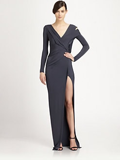 Donna Karan - Asymmetrical Draped Cutout Satin Jersey Gown
