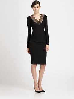 Donna Karan - Lace-Trimmed Stretch Jersey Top