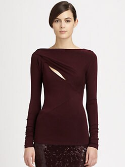 Donna Karan - Cutout Stretch Knit Top