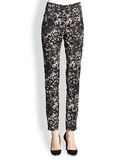 Donna Karan - Lace-Print Satin Straight-Leg Pants