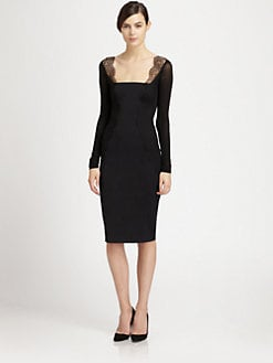 Donna Karan - Lace-Paneled Stretch Jersey Dress