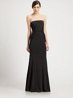 Donna Karan - Lace-Paneled Strapless Gown