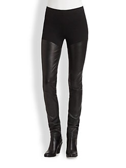Donna Karan - Stretch Jersey & Leather Skinny Pants