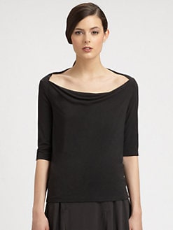 Donna Karan - Wide Boatneck Stretch Jersey Tee