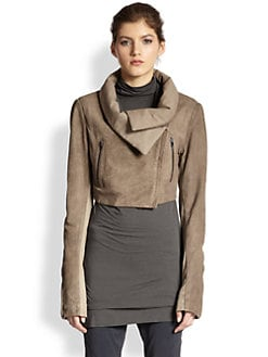 Donna Karan - Cropped Jersey-Paneled Suede Jacket