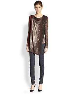 Donna Karan - Constellation-Print Draped Overlay Top