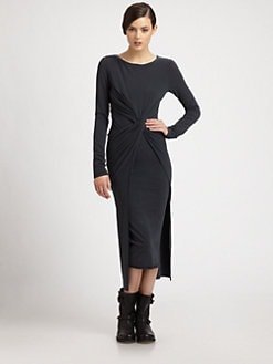 Donna Karan - Knot-Front Stretch Jersey Dress