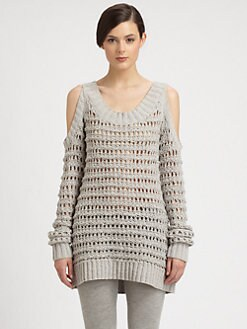 Donna Karan - Cutout-Shoulder Open-Knit Sweater