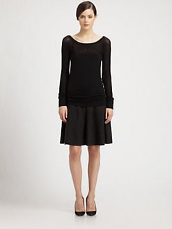 Donna Karan - Mesh-Top Cashmere Sweater
