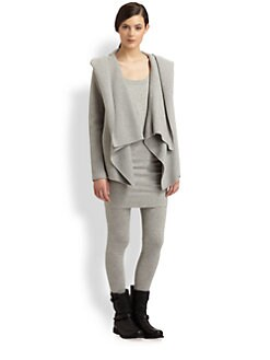 Donna Karan - Ribbed Cashmere Hooded Cardigan