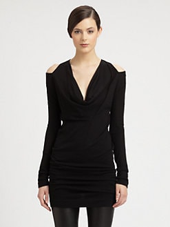 Donna Karan - Cashmere Cutout-Shoulder Draped Tunic