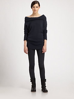 Donna Karan - Twisted Off-The-Shoulder Cashmere Sweater
