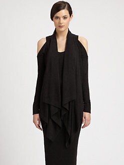 Donna Karan - Cashmere Cutout-Shoulder Draped Cardigan
